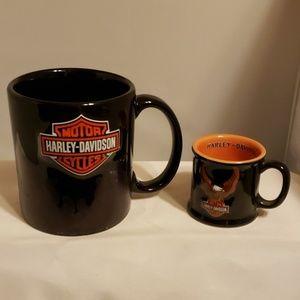 Harley Davidson coffee mug and tiny mug